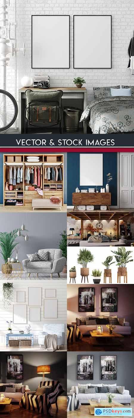 Interior design of room and furniture internal decor