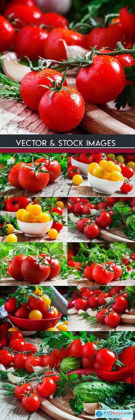 Ripe tomatoes cherry branch healthy food