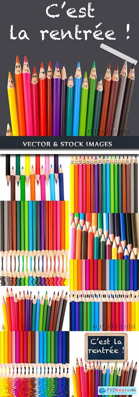 School colored pencils decorative background