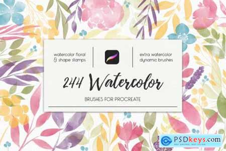 244 Watercolor Brushes For Procreate 3851051