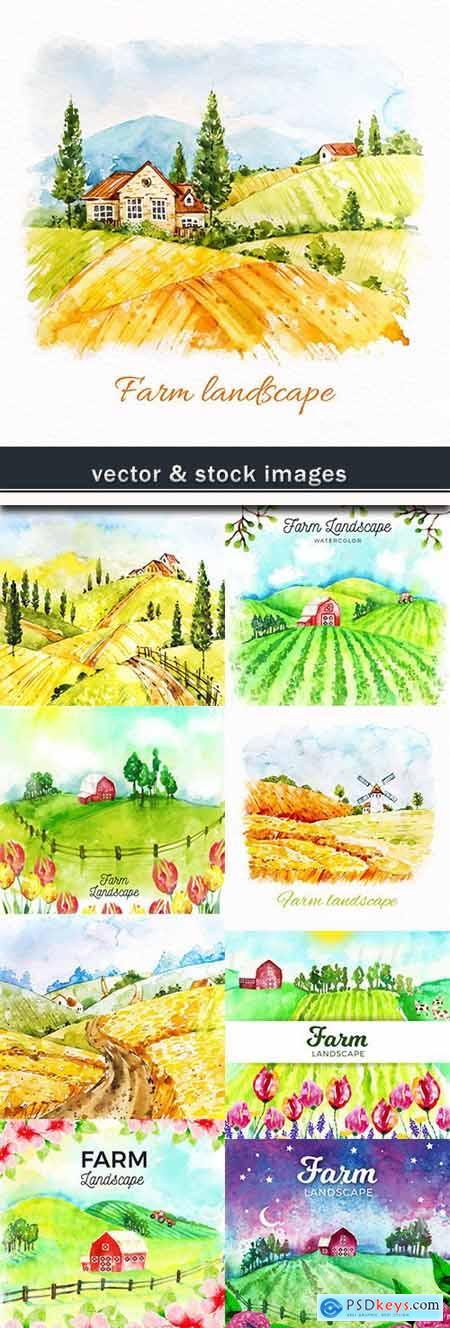 Farm beautiful watercolor landscape design illustrations