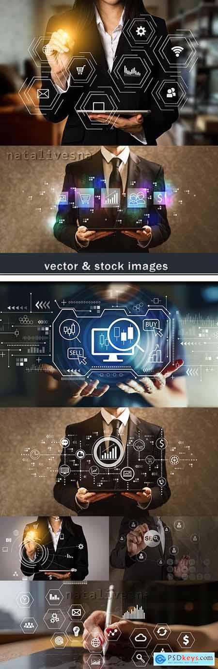 Digital marketing business computer social seo concept