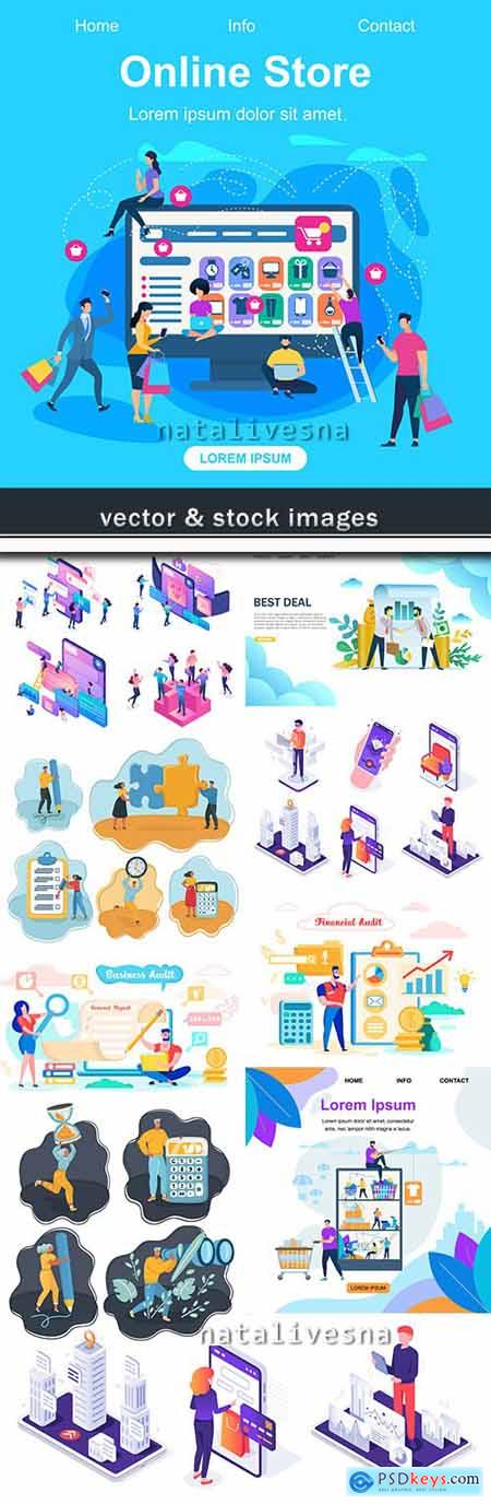Business and financial analysis isometric and flat style