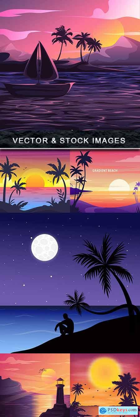 Summer sunset on the seashore vector landscape