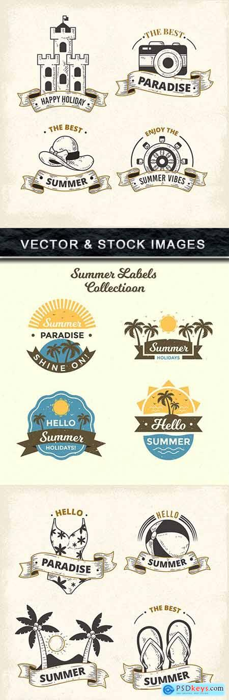 Summer labels and emblems vector collection