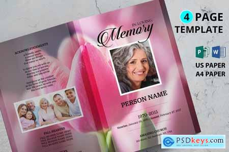 Pink tulip funeral program template 233873