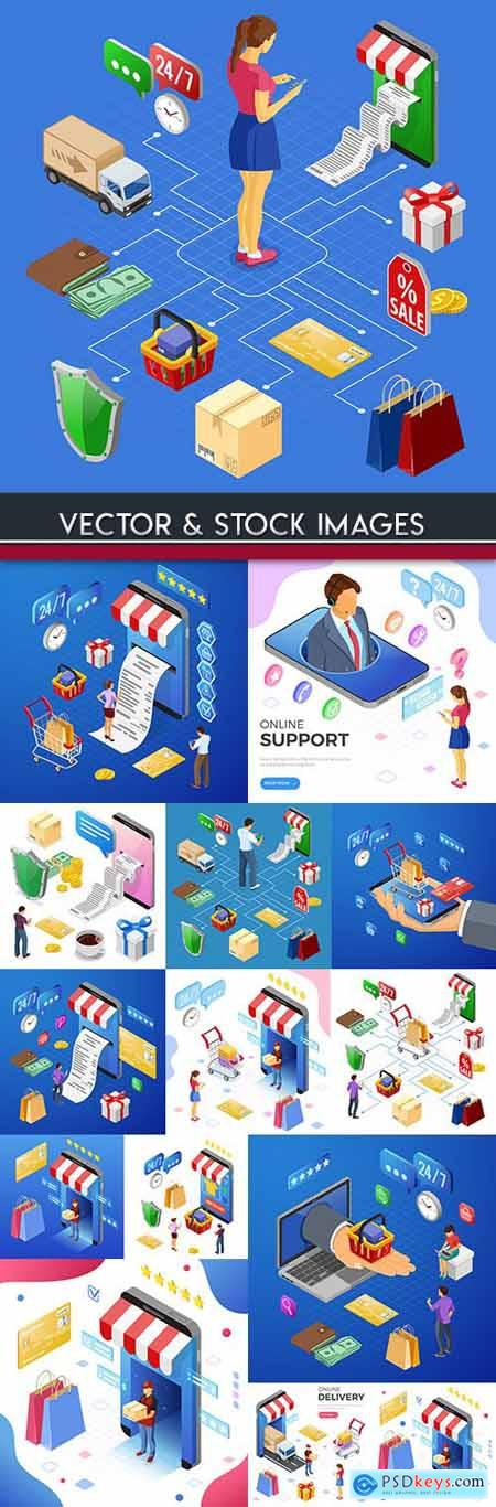 Business and online shopping isometric flat illustration