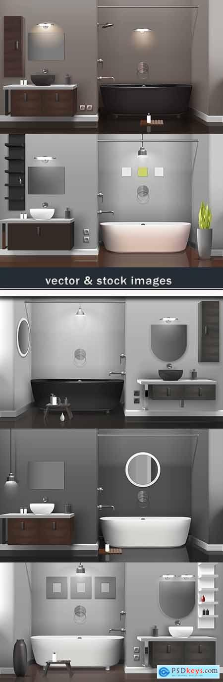 Bathroom modern situation and furniture 3D template