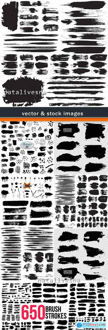 Grunge textured black ink brush strokes big collection elements