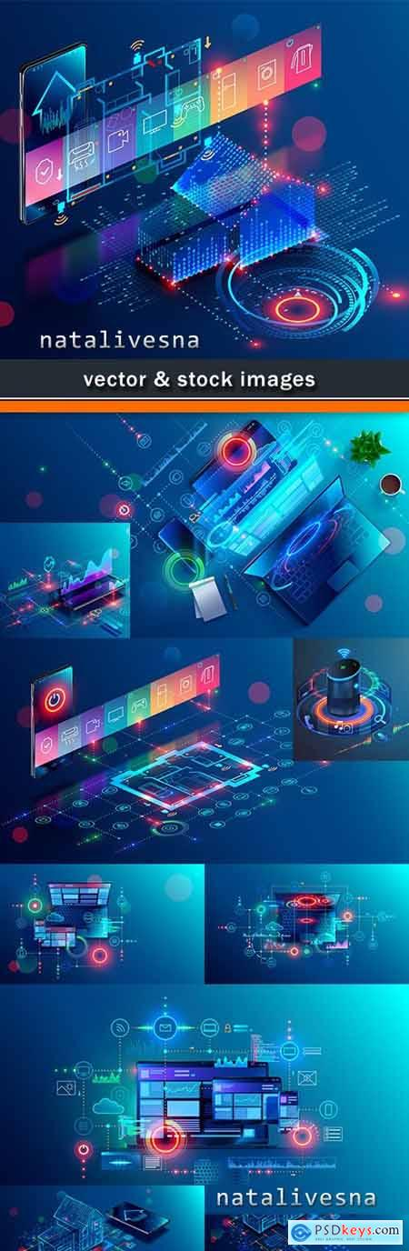 Internet and smart house digital technologies design background