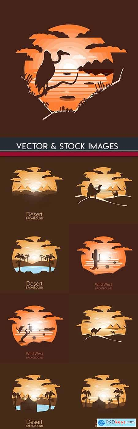 Sahara desert and beautiful landscape at sunset