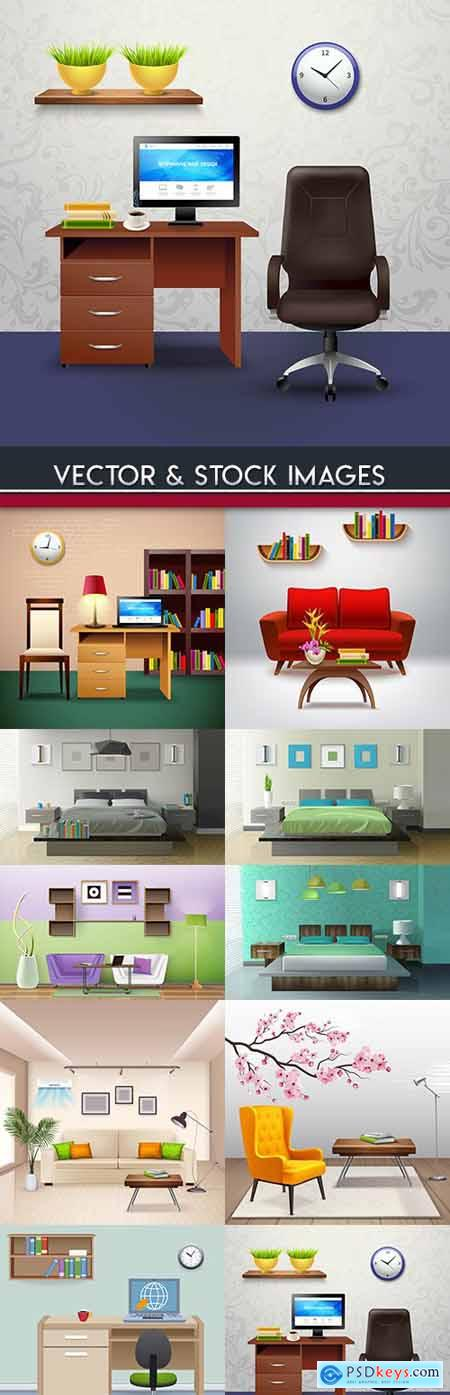 Room with furniture and situation 3d design » Free Download