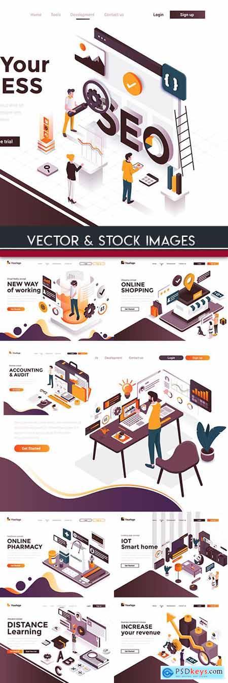 Modern online Isometric illustration flat concept