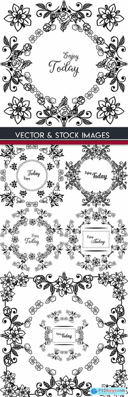 Floral vintage decorative drawn ornament element