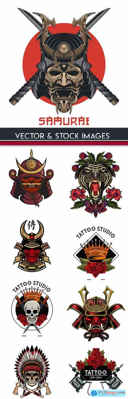 Samurai and skull vintage design tattoo