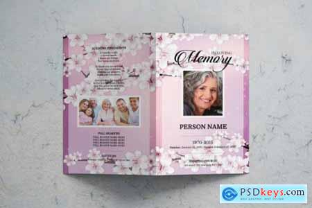 Cherry blossom funeral program template 3588533