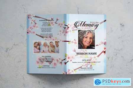 Cherry blossom funeral program template 3588534