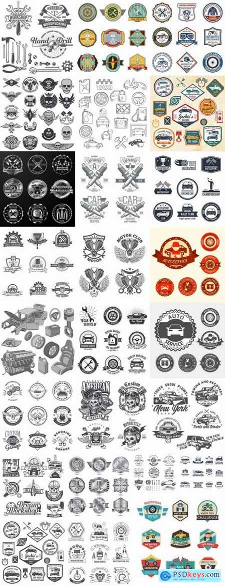 Label sticker icon logo the automotive themes print on clothing vector image 25 EPS