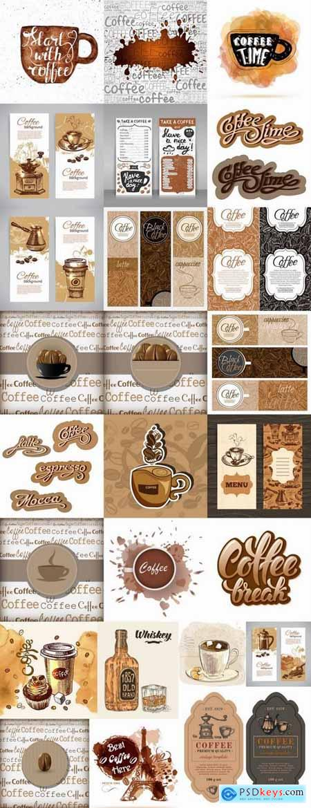 Coffee grains drink vector image 25 EPS