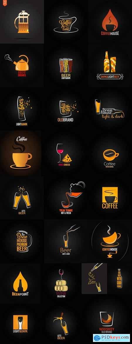 Vector coffee drink beer logo background flyer 25 eps