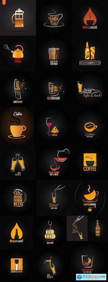 Vector coffee drink beer logo background flyer 25 eps