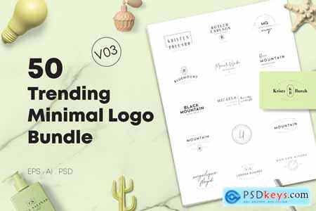 50 Trending Minimal Logo Bundle V03 3875124