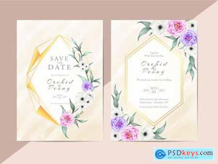 Elegant Floral Wedding Invitation Card Template Modern Style