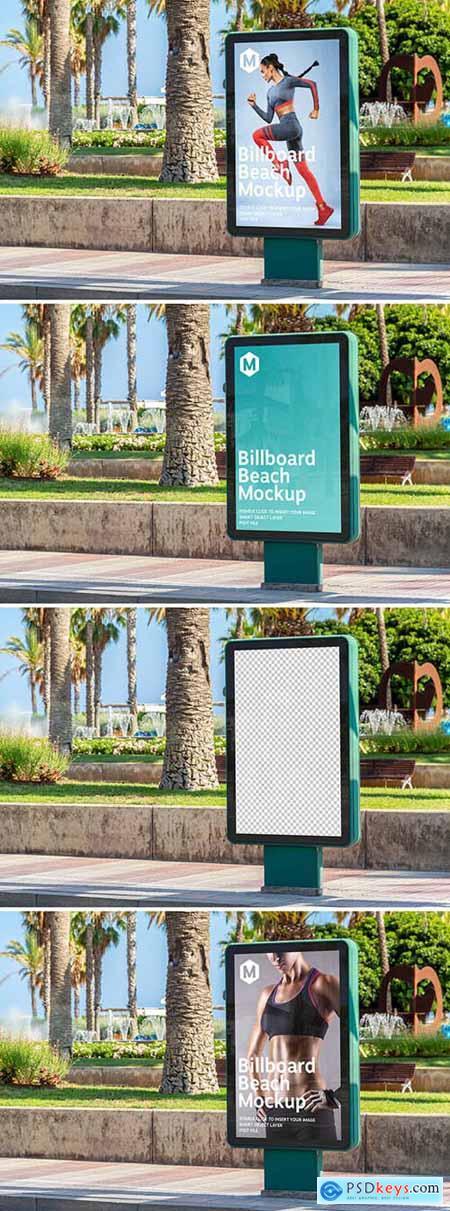 Outdoor Billboard Advertisement in Beach City Mockup 274306179