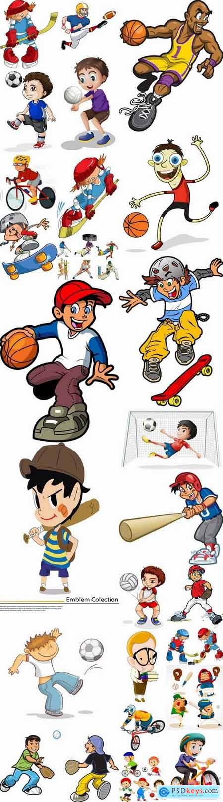 Cartoon sports men in vector 25 Eps