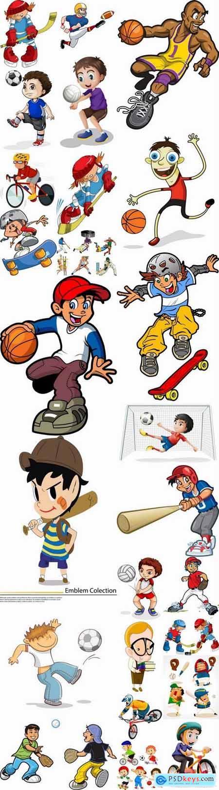 Cartoon sports men in vector 25 Eps