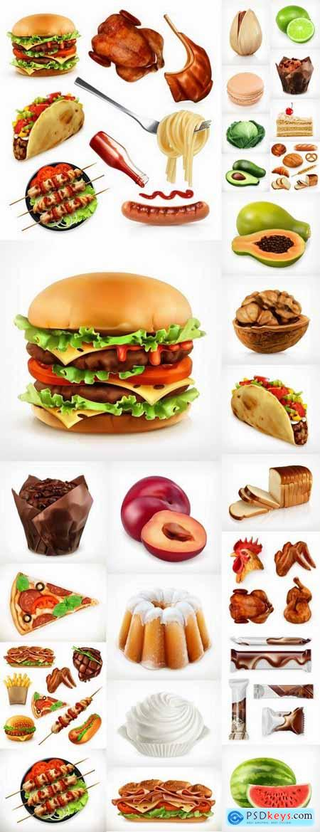 Nuts fruit vegetables meat burger fast food meal different vector image 25 EPS