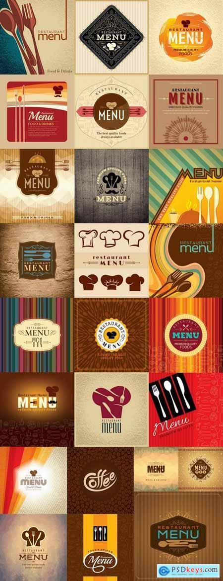 Menu food fast food cooking meal drink vector image 2-25 EPS