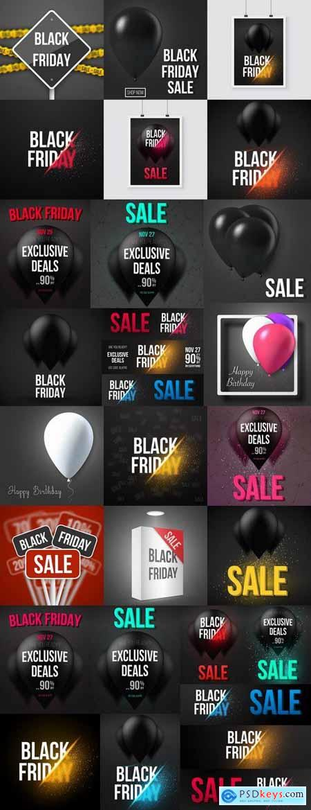 Black Friday flyer banner logo sticker sale invitation card 25 EPS