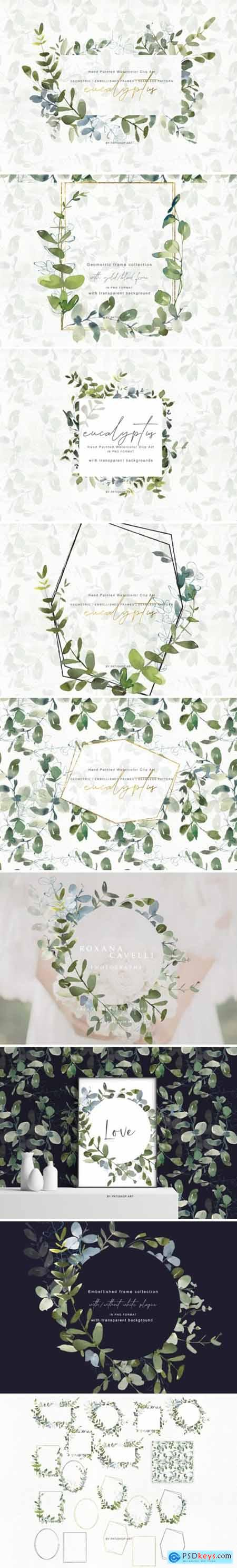 Watercolor Eucalyptus Clipart Collection 1505798