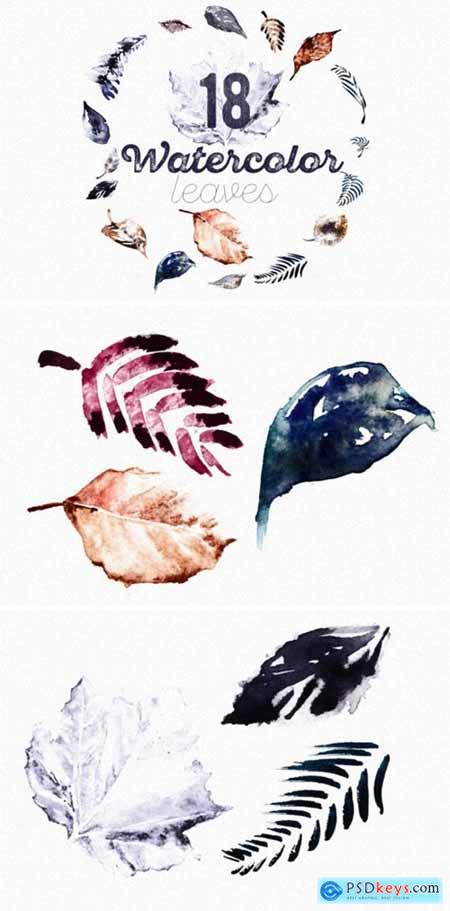 Set of 18 Watercolor Handpainted Leaves 1537780