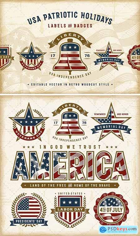 Vintage USA Patriotic Holidays Labels Set
