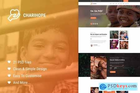 Charihope Charity and Donate PSD Template 22783912