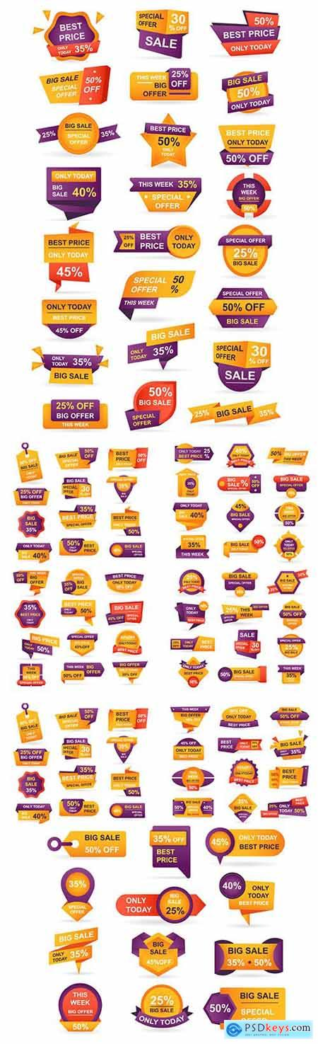 Retail Sale Tags Stickers Best Offer Bundle