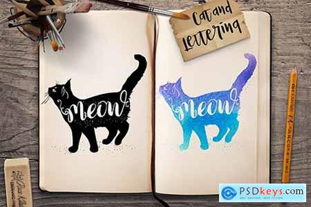 Cat and Lettering