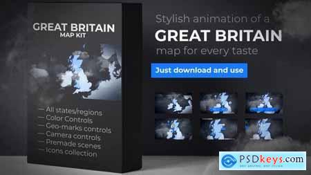 Videohive United Kingdom of Great Britain Map - UK Map - Britain Map