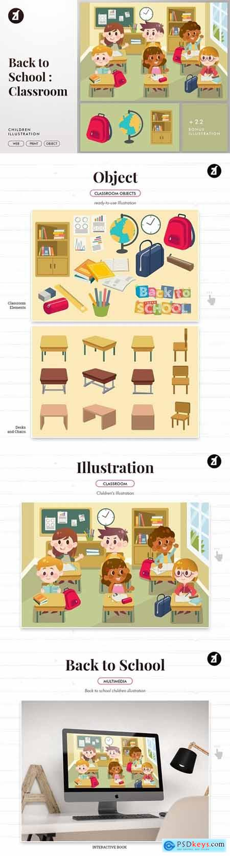 Back to school classroom illustration with objects