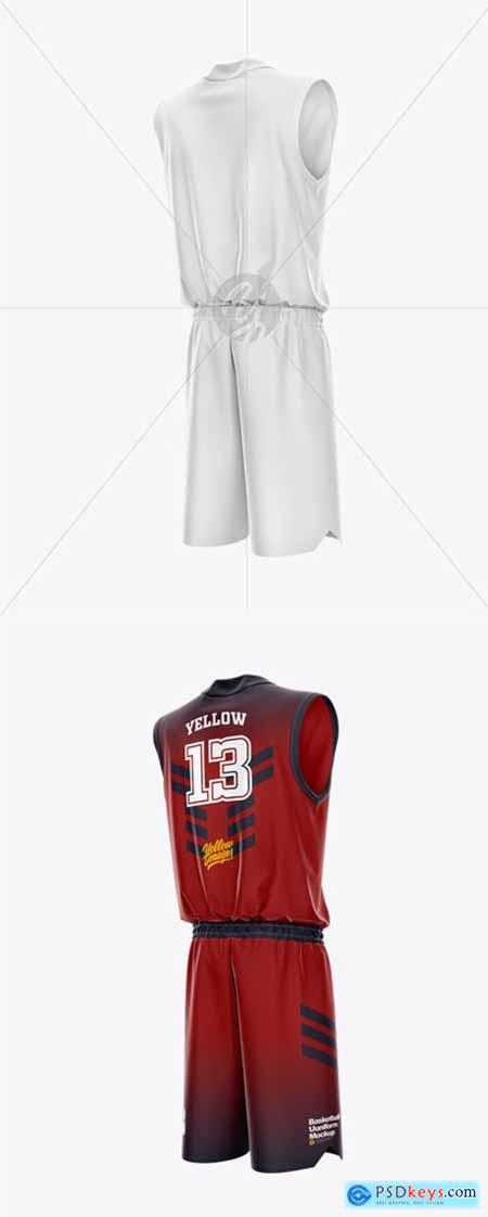Basketball Uniform Mockup - Back Half Side View 44856