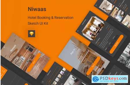 Niwaas - Hotel Booking & Reservation Sketch UI Kit