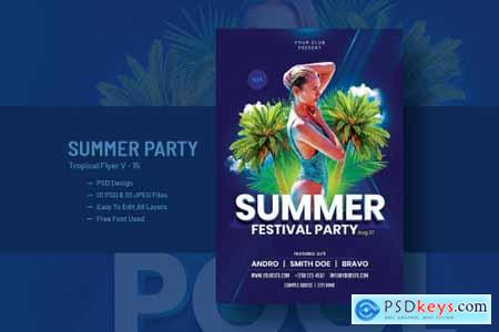 Summer House Party Flyer Template V-15
