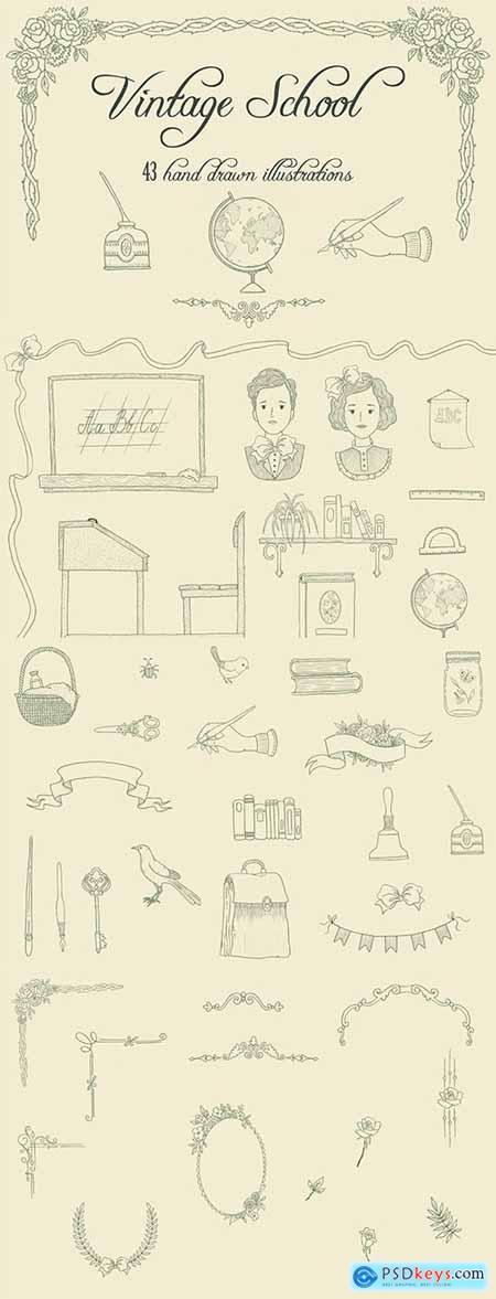 Vintage School Illustrations