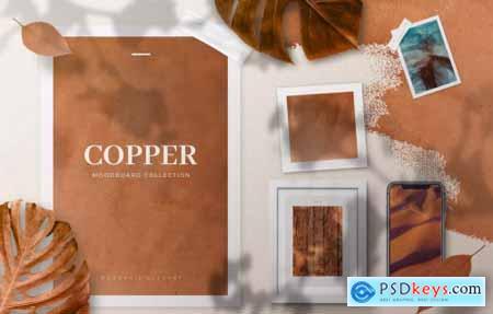 Copper Realistic Moodboard Mockups