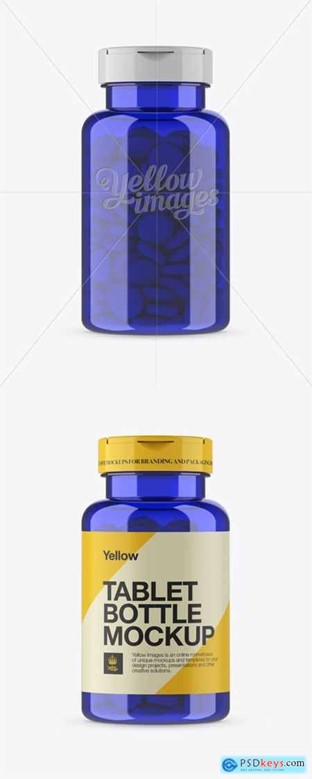 Blue Pill Bottle Mockup - Front View 14047