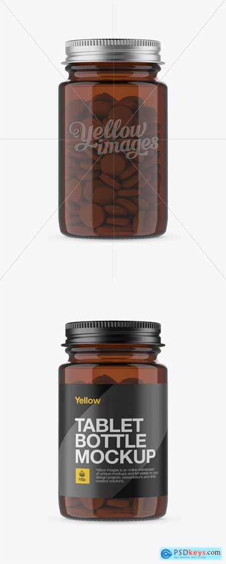 Amber Pill Bottle w Metal Cap Mockup - Front View 13445