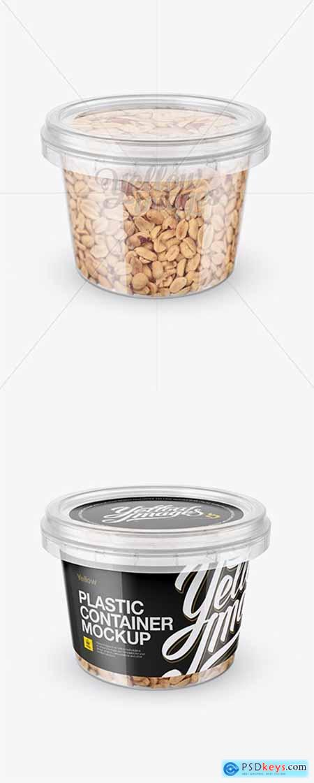 Plastic Container w Peanuts Mockup - Front View (High-Angle Shot) 14072