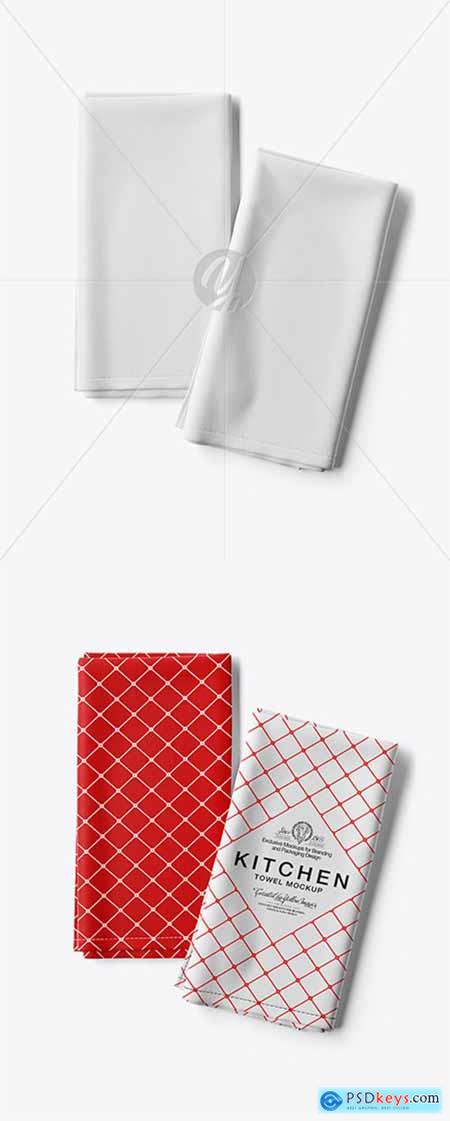 Two Folded Kitchen Towels Mockup - Top View 28138
